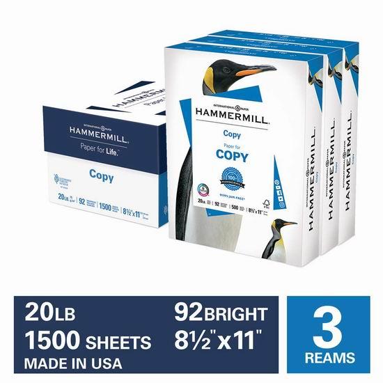 历史新低!Hammermill 复印打印纸1500页 14.76加元!