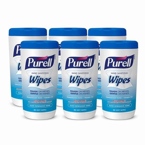 PURELL 便携式消毒湿巾(40片x6罐) 22.58-26.82加元包邮!