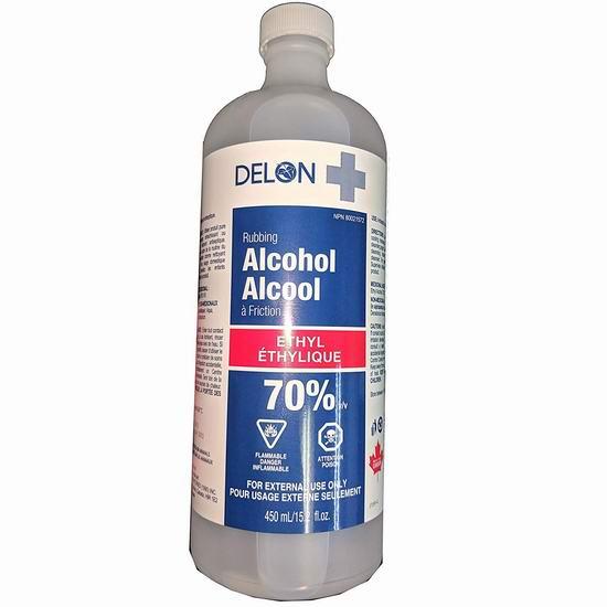补货!Delon+ Rubbing 70%医用消毒酒精450ml装 2.51加元!