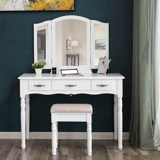 金盒头条:历史新低!SONGMICS 白色复古梳妆台桌椅套装 194.99加元包邮!