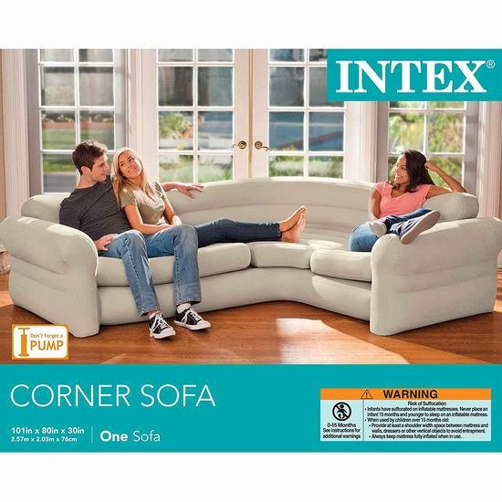 近史低价!Intex 便携式快速充气转角沙发套装 105.03加元包邮!
