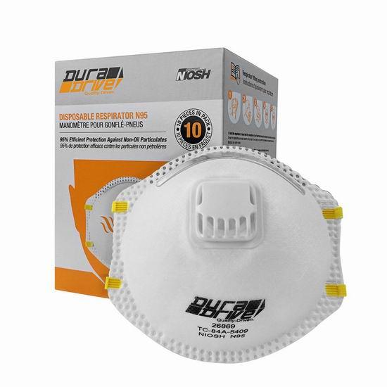 手慢无!DuraDrive NIOSH-Approved 带呼吸阀 N95防护口罩(10件) 37.99加元包邮!