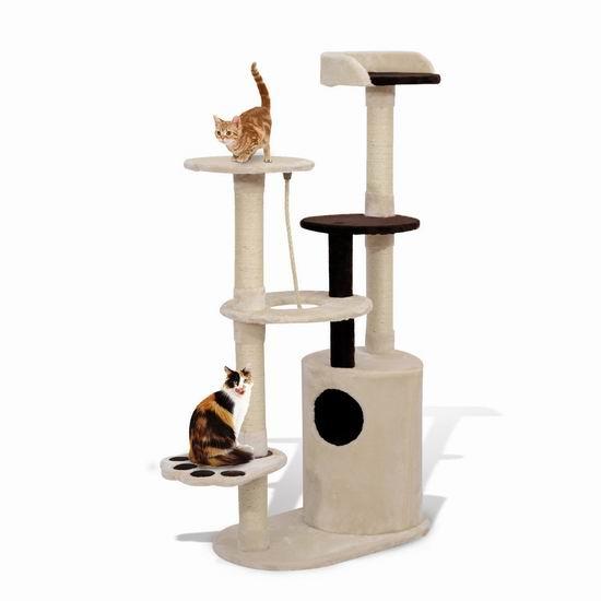 历史新低!PawHut 55英寸 豪华猫树公寓/猫爬架3.2折 62.03加元包邮!