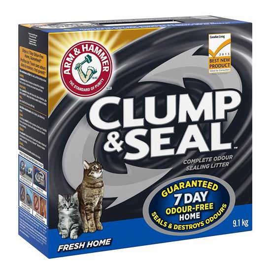 历史最低价!ARM & HAMMER Clump & Seal 除臭猫砂(9.1公斤)4.4折 7.12加元!