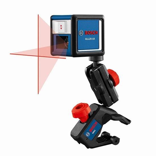 历史新低!Bosch 博世 GLL25-10 30英尺 十字线激光水平仪 65.33加元包邮!配送多功能固定架!