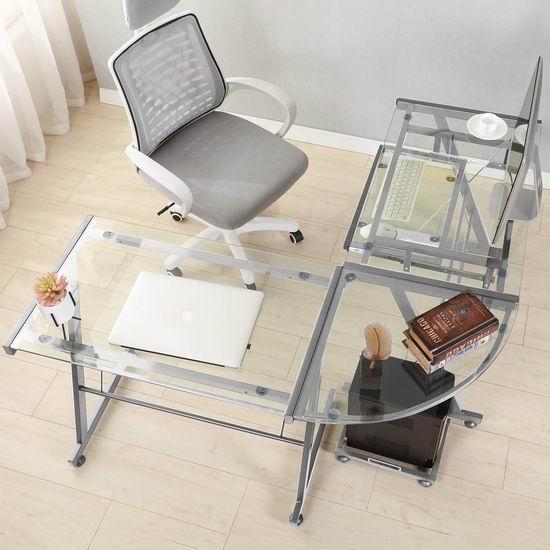 DlandHome L型钢化玻璃 时尚电脑桌/办公桌 139加元限量特卖并包邮!可拆为2个电脑桌!