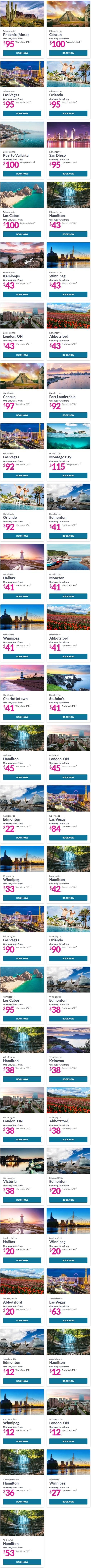 Swoop航空官网大促!飞往加拿大、美国、墨西哥指定城市航班机票低至12加元!飞往拉斯维加斯低至63加元,奥兰多低至90加元!