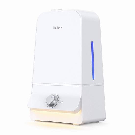 独家:历史新低!Homech 6升超大容量 零噪音超声波加湿器 46.99加元包邮!