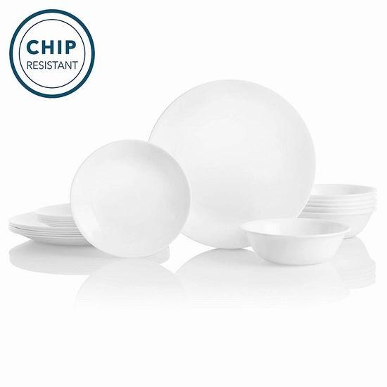 Corelle 康宁 Livingware 白色餐具18件套6人装5.8折 60.74加元包邮!