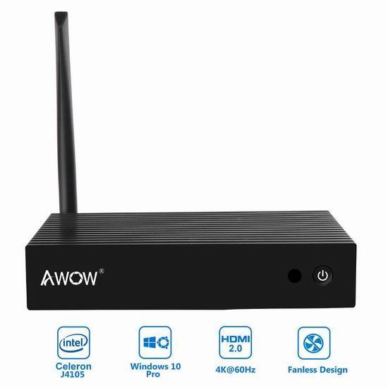 AWOW NV41 无风扇 迷你PC电脑(4GB/64GB SSD) 218.49加元限量特卖并包邮!