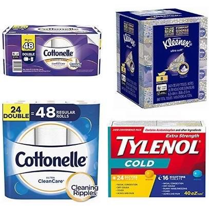 金盒头条:精选多款 Kleenex、Cottonelle、Tylenol、Clorox 等品牌卫生纸、厨房用纸、消毒湿巾、面巾纸、感冒药、胃药、糖浆等6.9折起!