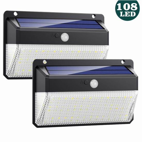 Feob 108 LED超亮 太阳能运动感应灯2件套 18.87加元限量特卖!