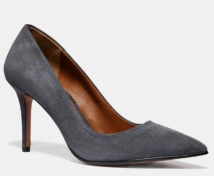 Coach Waverly 麂皮高跟鞋 3折 67.5加元(2色),原价 225加元,包邮