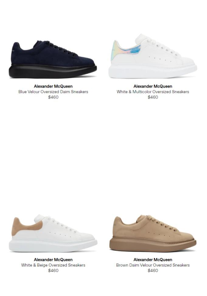 精选6款 Alexander McQueen 超级百搭 男士小白鞋460加元,原价 650加元,包邮