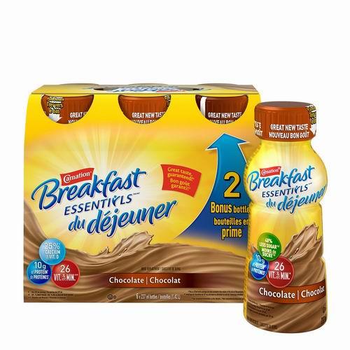 Carnation Breakfast Essentials 早餐牛奶巧克力饮品 6x237毫升 6.97加元,多种味道可选!