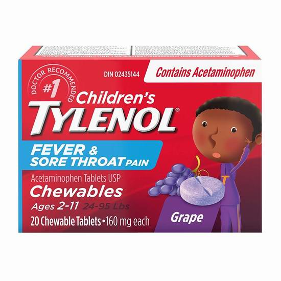 Tylenol 泰诺 Peds 葡萄口味 儿童退烧止痛咀嚼片(20片) 7.99加元!