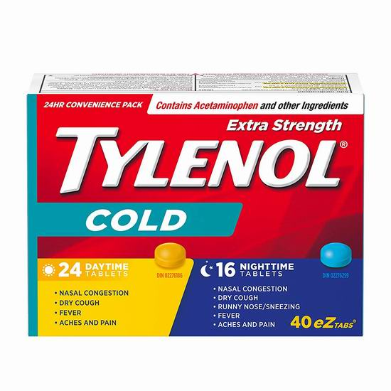 Tylenol 泰诺强效 退烧止咳止痛流感药(24片日用+16片夜用) 14.99加元!另有泰诺强效退烧止痛片11.98加元!