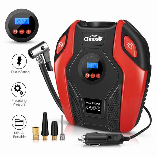 Oasser 便携式车载电动充气泵 33.14加元!