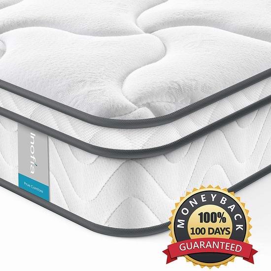 历史新低!Inofia 8英寸 中等硬度 独立弹簧Twin床垫 143.65加元包邮!