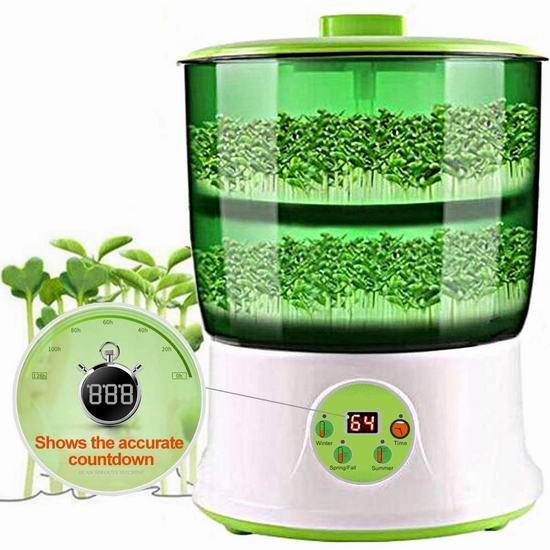 补货!精选4款 LeJoy Garden 全自动智能豆芽机、无土豆芽机22.99加元起!