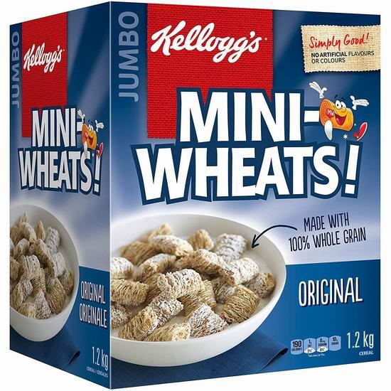 Kellogg's Mini-Wheats 早餐速食营养麦片1.2公斤超值装 6.98加元包邮!