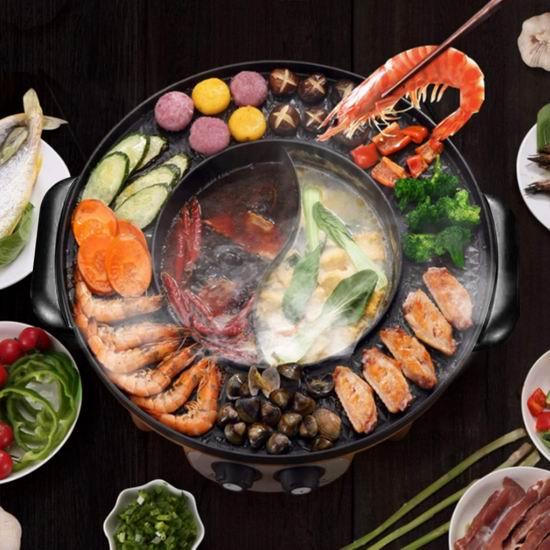 Food Party 韩式 烤涮一体 二合一鸳鸯火锅/烧烤炉 136.99加元包邮!