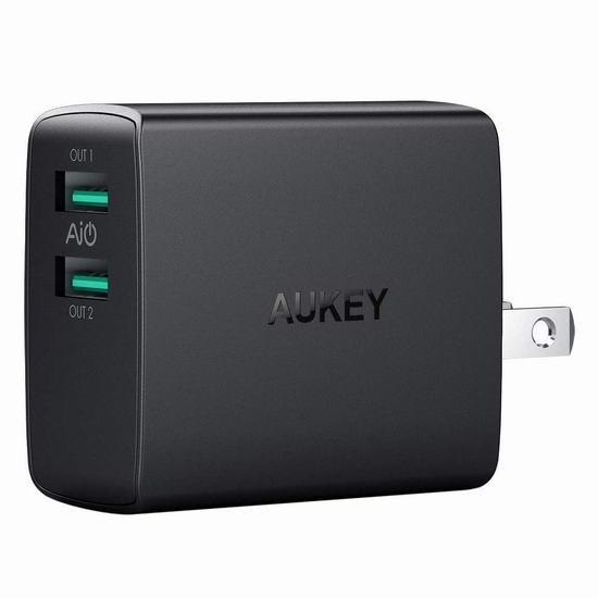 独家:AUKEY 4.8A USB 双口 智能快速USB充电器 10.99加元!