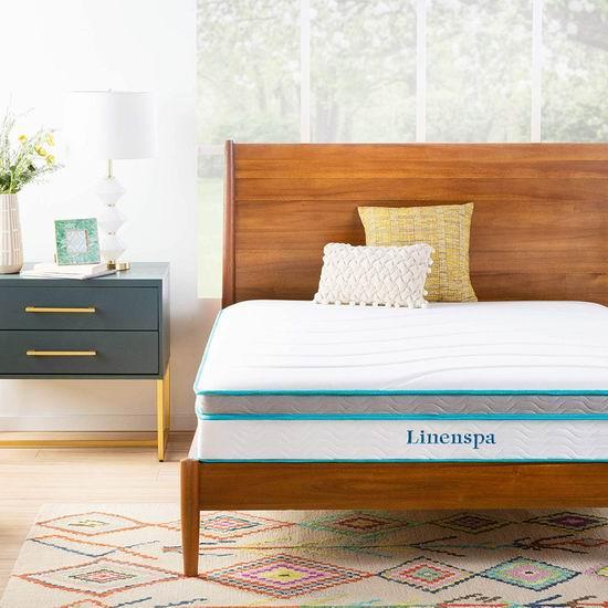 LinenSpa 10英寸 记忆海绵+弹簧Queen床垫 254.69加元包邮!
