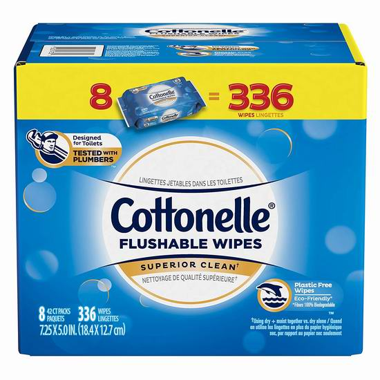 Cottonelle Freshcare 可冲马桶湿巾纸(336张) 13.97加元!
