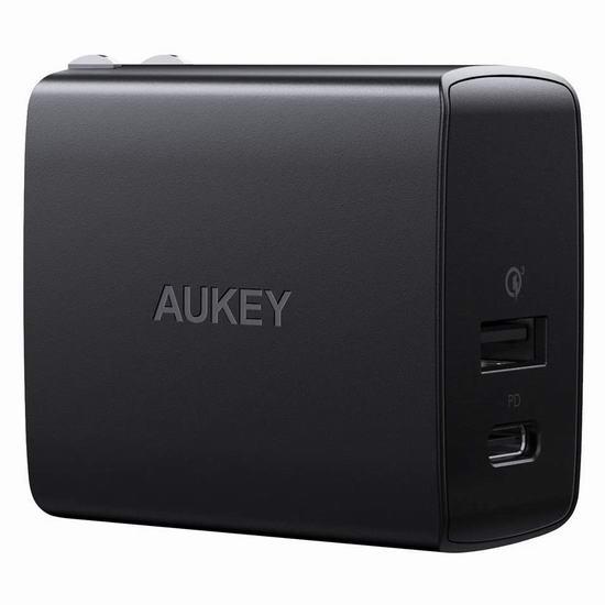 历史新低!AUKEY USB C 18W 双口 智能快速USB充电器 9.99加元清仓!