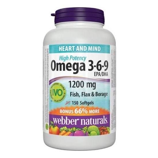Webber Naturals Omega 3-6-9复合鱼油软胶囊(150粒)6.1折 10.9加元!