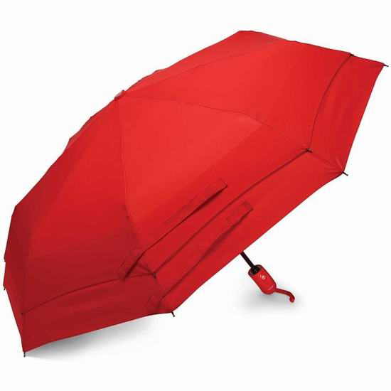Samsonite 新秀丽 51701-1726 Windguard 红色双层防风自动雨伞5.2折 18.25加元!