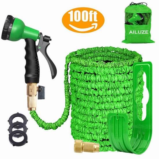 AILUZE 100英尺 弹性伸缩浇花水管+喷头+挂钩 31.44加元限量特卖并包邮!