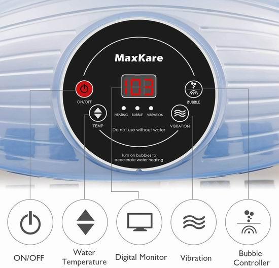 MaxKare Spa Bath 智能加热 三合一 水疗按摩足浴盆 64.99加元包邮!