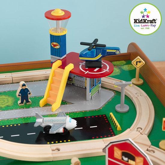 历史新低!KidKraft 17836 机场快线木质轨道玩具+游戏桌5.5折 120.7加元包邮!