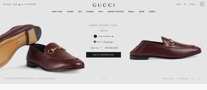 Gucci Horsebit  女士 勃艮第酒 马衔扣乐福鞋 695加元,官网价910加元