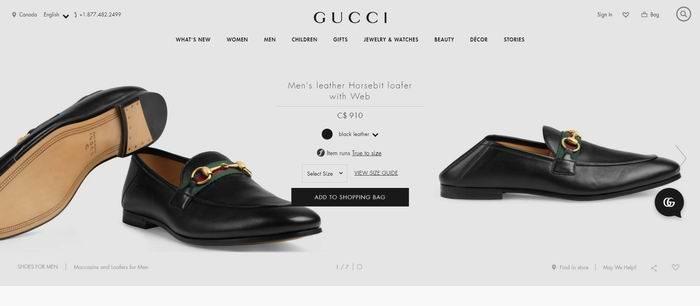 男生必备 超百搭鞋款!Gucci Horsebit 男士马衔扣乐福鞋 600加元,官网价 910加元,包邮