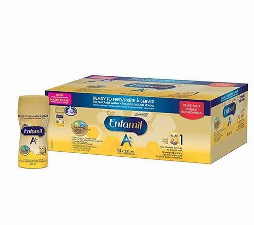 Enfamil A+ 1 即开即用液体奶 237毫升×18瓶 49.99加元,原价 54.97加元,包邮