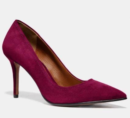 Coach Waverly 麂皮高跟鞋 67.5加元(2色),原价 225加元,包邮