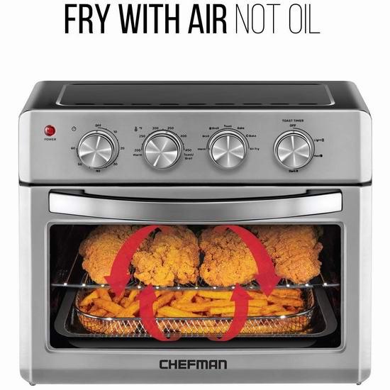 近史低价!Chefman 26夸脱 七合一多功能 对流空气炸锅/烤箱4.9折 149.26加元包邮!