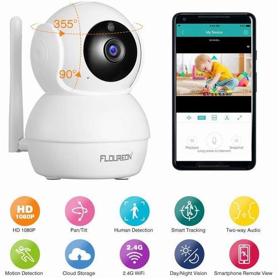 历史新低!FLOUREON 1080P 无线Wi-Fi安全监控摄像头 19.99加元清仓!