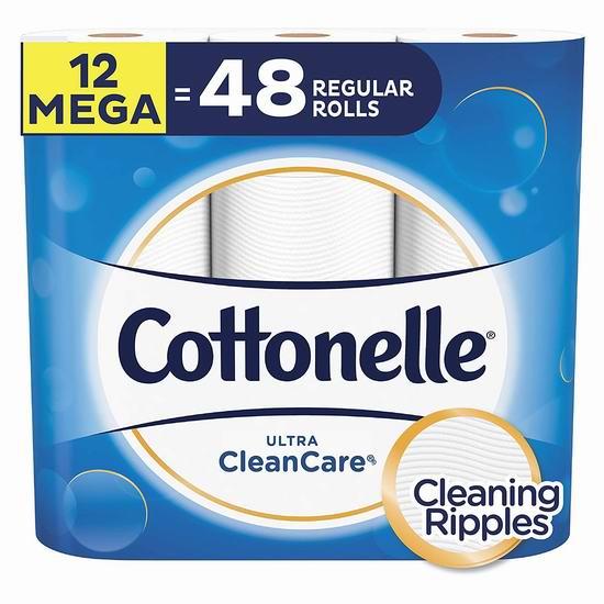 Cottonelle Ultra Cleancare 12超大卷 超软超强卫生纸 15.19加元!