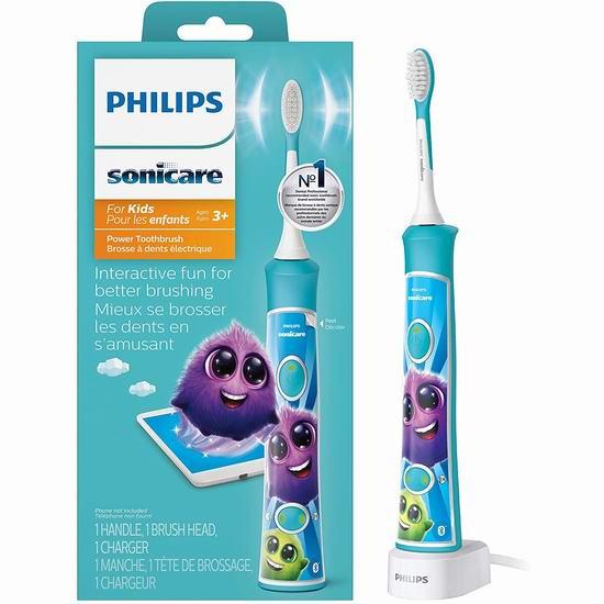 黑五必抢:历史新低!新版 Philips 飞利浦 Sonicare 声波震动 HX6321/02 蓝牙版儿童电动牙刷 39.95加元包邮!2色可选!