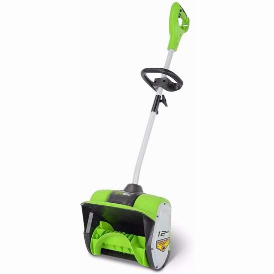 近史低价!GreenWorks 2600802 8安培 12英寸电动铲雪机 79.99加元包邮!