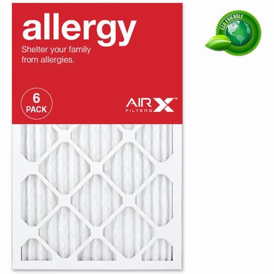 AIRx Filters Allergy MERV 11 空调暖气炉过滤网(16x25x1英寸 6件套)6.1折 45.99加元包邮!