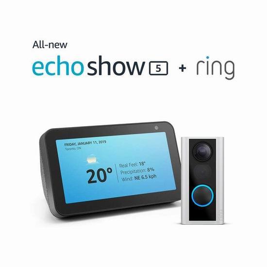 历史新低!Ring Door View 智能可视门铃 189.99加元包邮!送价值99.99加元Echo Show 5智能显示屏!