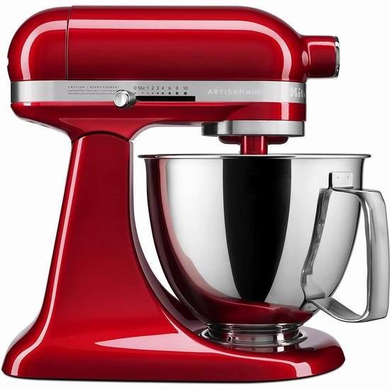 历史最低价!KitchenAid 厨宝 Artisan 名厨系列 KSM3316XER 3.5夸脱 多功能立式厨师机 249.99加元包邮!3色可选!