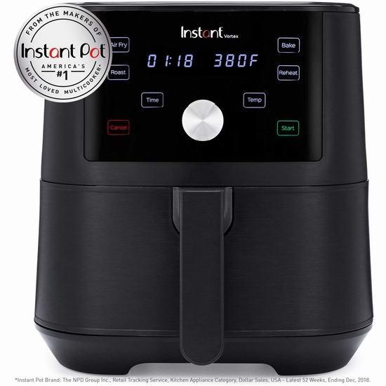 近史低价!新品 Instant Pot Vortex 6夸脱 4合1 多功能空气炸锅 138.01加元包邮!