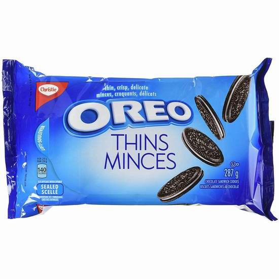 历史新低!OREO 奥利奥 Thins Original 巧克力夹心饼干(287克)4.7折 1.88加元!