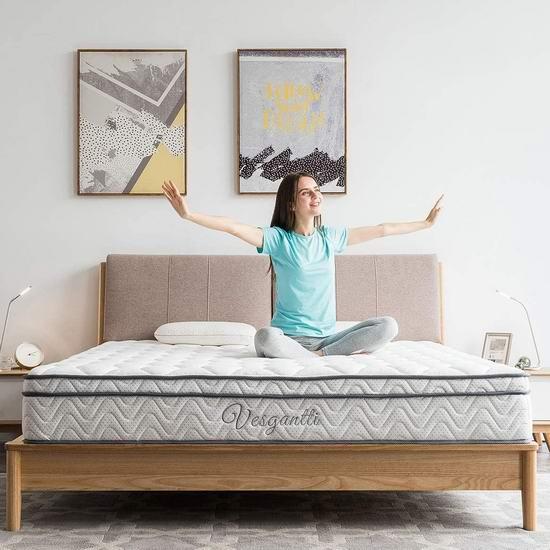 历史新低!Vesgantti 10.2英寸 中等硬度 混合层舒适海绵+独立弹簧King床垫 303.99加元包邮!